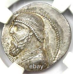 Parthian Mithradates II AR Tetradrachm Coin 121-91 BC NGC Choice AU Fine Style