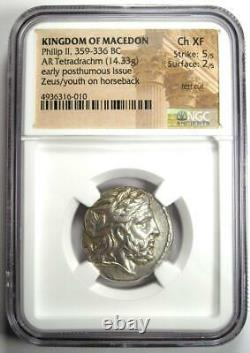 Philip II AR Tetradrachm Zeus Silver Coin 359-336 BC Certified NGC Choice XF