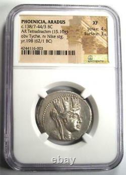 Phoenicia Aradus AR Tetradrachm Coin (Tyche, Nike, 62 BC). Certified NGC XF (EF)