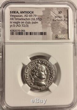 ROMAN ANTIOCH, Syria Vespasian AD 69-79 (Year 71 AD) AR Tetradrachm NGC XF 5+4