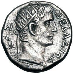 ROMAN EMPIRE, EGYPT, Tiberius (AD 14-37) Divus Augustus. Tetradrachm NGC CH XF