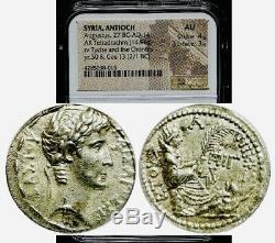 ROMAN EMPIRE, SYRIA ANTIOCN, AUGUSTUS 27 BC-AD 14 AR Tetradrachm NGC AU 4/5 3/5