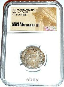 Roman Nero Alexandria Bi Tetradrachm Coin NGC Certified With Story, Certificate