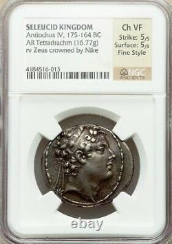 SELEUKID EMPIRE Antiochos IV Antiochus Epiphanes 175 BC AR Tetradrachm NGC XF fs