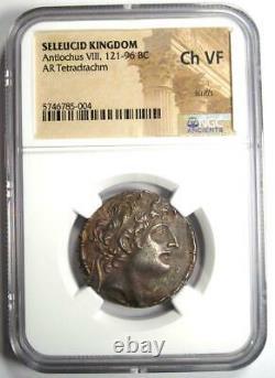 Seleucid Antiochus VIII AR Tetradrachm Coin 121-96 BC Certified NGC Choice VF