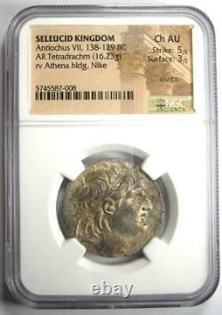 Seleucid Antiochus VII AR Tetradrachm Coin 138-129 BC Certified NGC Choice AU