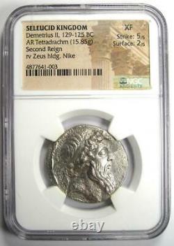 Seleucid Demetrius II AR Tetradrachm Zeus Nike Coin 129-125 BC. Certified NGC XF