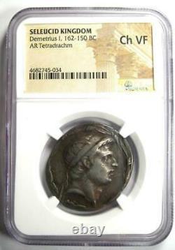 Seleucid Demetrius I AR Tetradrachm Silver Coin 162-150 BC NGC Choice VF