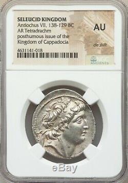 Seleucid Kingdom, Antiochus VII, 138 BCE, AR Tetradrachm, NGC AU, rare die shift