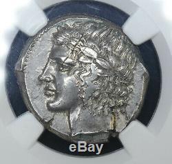 Sicily Leontini 450-420BC silver Tetradrachm NGC MS Ancient Greece Apollo Lion