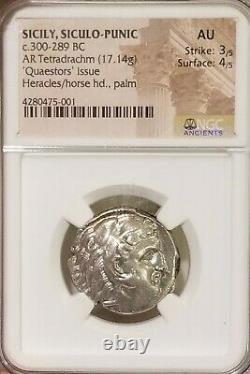 Sicily, Siculo-Punic Tetradrachm NGC AU Ancient Silver Coin