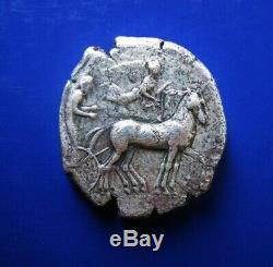Sicily, Syracuse AR Tetradrachm 430 BC Charioteer Quadriga Nike/Arethusa dolphins