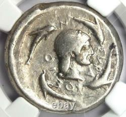 Sicily Syracuse AR Tetradrachm 480 BC (Nike, Arethusa, Dolphin). NGC Choice Fine