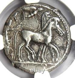 Sicily Syracuse AR Tetradrachm 480 BC (Nike, Arethusa, Dolphins) NGC Choice VF
