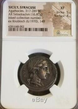 Sicily Syracuse Agathocles Tetradrachm 317-289BC NGC XF 5/4 Ancient Silver Coin
