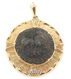 Superb 14k Gold Ancient Coin Pendant Coa 35bc 5ad Azes II Silver Tetradrachm