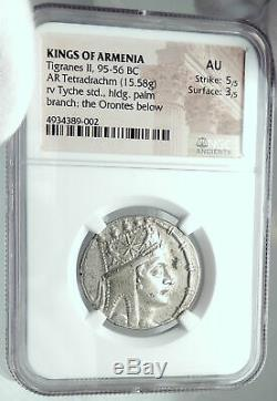 TIGRANES II 80BC Authentic Ancient Armenian Silver Greek Coin Armenia NGC AU