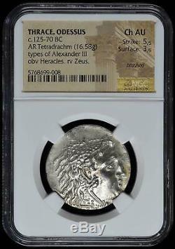 Thrace Odessus AR Tetradrachm 125-70 BC NGC Ch AU 5/4 Alexander III Bright Coin