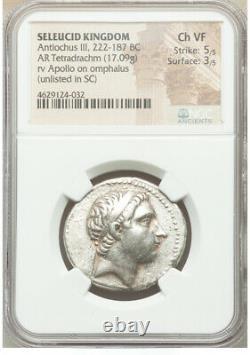 222-187bc Antiochus III Le Grand Empire Séleucide Ar Tetradrachm Ngc Ch Vf 5/5 3