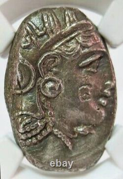 393-294 Bc Argent Attique Athènes Tetradrachme Athena Owl Banker Mark Ngc Choice Au