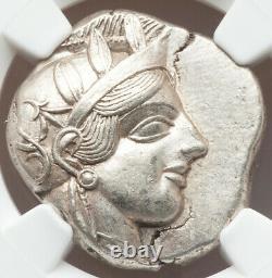 440-04bc Attique Athènes Ar Tetradrachm Ngc Ch Au Large Large Et Très Détaillé