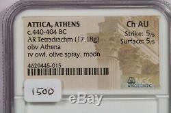 440-404 Bc Ar Tetradrachm Attique, Ngc Ch Au Hibou Rv, Jet D'olive, De La Lune B2