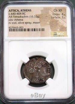 440- 404 Bc Argent Attique Athènes Tetradrachm Athena / Owl Coin Ngc Choix Xf