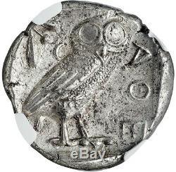 440- 404 Bc Argent Attique Athènes Tetradrachm Athena / Owl Coin Ngc Monnaie État 4/4
