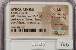 440-404 Bc Attica, Athènes Ar Tetradrachm 16.73g Obv Athena Ngc Au B-1