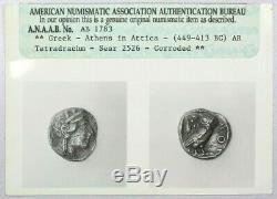 449-413 Bc Antique Attique Athènes Grec Chouette Tetradrachm Argent Anacs Photograde
