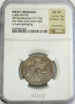 460- 420 Bc Silver Sicile, Messana Tetradrahm Nike Over Biga Coin Ngc Choice Vf