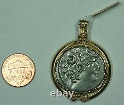 46-45 Bc Ancient Tétradrachme D'argent Jules César 14k Or Bezel Pendentif Pièce