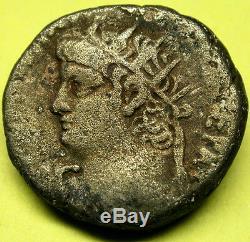 54-68 An Ancient Nero & Tiberius Scarce Silver Tétradrachme D'alexandrie Égypte