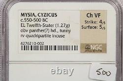 550-500 Bc Mysia Cyzicus El Douzième Stater Obv Panther Ngc Ch Vf B-5