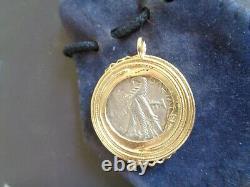 80-51 C.-b. Grec Argent Tétradrachme Empereur Ptolémée XII En Lunette D'or 14k Coa 778
