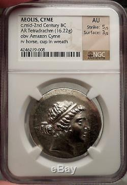 Aeolis, Cyme 155bc Authentique Monnaie Grecque Antique Certifiée Ngc Au. Amazone Et Cheval
