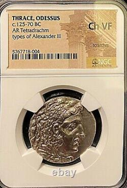 Alexander The Great 125/70bc Odessos Ancient Greek Silver Tetradrachm Ngc Ch Vf
