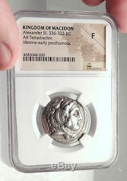 Alexandre III La Grande Vie Tétradrachme 325bc Argent Grec Monnaie Ngc I73058