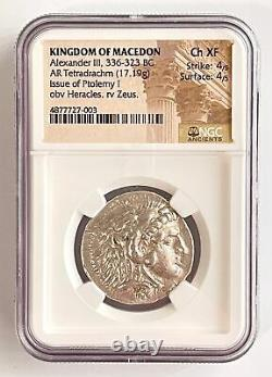 Alexandre III Le Grand Macédon 336-323 Bc Tetradrachm Heracles Zeus Ngc Ch Xf