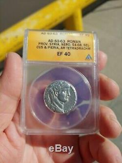Anacs Romain Nero Syrie Tetradrachm 61 Argent Ad Belle Coin