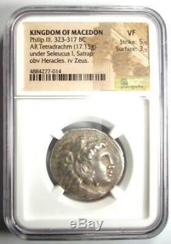 Ancien Macedon Philippe III Ar Tetradrachm 323-317 Bc Coin Certifié Ngc Vf