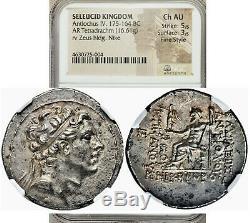 Ancien Royaume Séleucide Grec Antiochus IV 175-164 Av. J.-c. Tétradrachme Ngc Ch Au