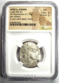 Ancient Athènes Grèce Athéna Owl Tetradrachm Coin (440-404 Av. J.-c.) Ngc Au