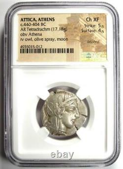 Ancient Athènes Grèce Athena Owl Tetradrachm Coin (440-404 Av. J.-c.) Ngc Choice Xf
