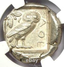 Ancient Athènes Grèce Athéna Owl Tetradrachme Argent Coin (440-404 Av. J.-c.) Ngc Xf