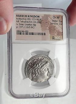 Antiochos VIII Grypos Seleukid Antique Argent Grec Tetradrachm Numismatique, Ngc I62342