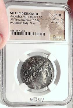 Antiochos VII Sidétès Seleukid Ancien Argent Grec Tétradrachme Monnaie Ngc I68736