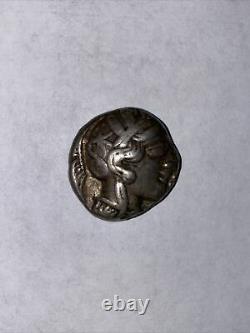 Antique Athènes Grèce Athena Owl Tetradrachm Ar Silver Coin 440-404 Bc Ch Vf