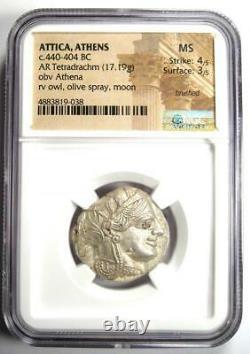 Antique Athènes Grèce Athena Owl Tetradrachm Coin (440-404 Av. J.-c.) Mbac Ms (unc)