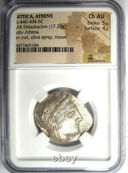 Antique Athènes Grèce Athena Owl Tetradrachm Coin (440-404 Av. J.-c.) Ngc Choice Au